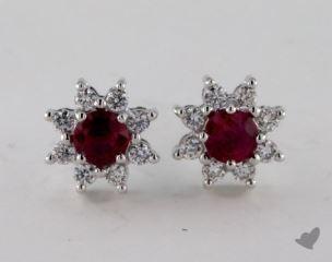 18K White Gold Starburst 0.65tcw Round Ruby and Diamond Earrings.