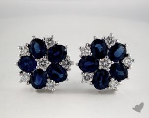 18K White Gold Starburst 4.08tcw Oval Blue Sapphire and Diamond  Earrings.