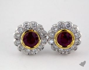 18k two tone - 1.20tcw  - Round - Ruby Earrings