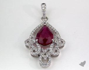18K White Gold - 1.93ct  - Pear - Ruby Pendant