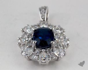 18K White Gold - 1.54ct Oval- - Blue Sapphire Pendant