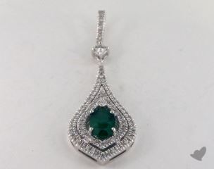 18K White Gold - 0.60ct  - Oval - Green Emerald Pendant