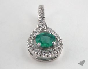 18K White Gold - 0.45ct  - Round - Green Emerald Pendant
