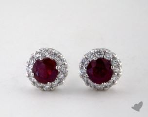 18K White Gold - 0.85tcw  - Round - Ruby Earrings