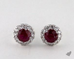 18K White Gold  Diamond Halo 0.95tcw Round Ruby Earrings.