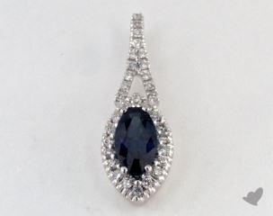 18K White Gold - 0.65ct Pear- - Blue Sapphire Pendant