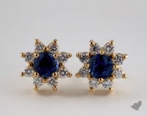 18K Yellow Gold Starburst 0.70tcw Round Blue Sapphire and Diamond Earrings.