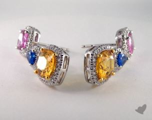 18k Two Tone Pave Diamond 8.75tcw Gemstone Earrings.