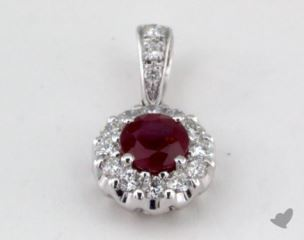 18K White Gold - 0.49ct  - Red Pendant