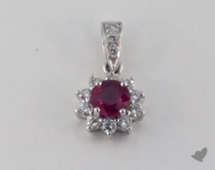 18K White Gold - 0.59ct  - Round - Ruby Pendant