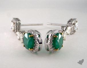 18k Two Tone  4.22tcw Oval Green Emerald and Diamond Earrings.
