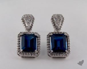 18K White Gold Diamond  Pave Framed 5.17tcw  Emerald Shaped Blue Sapphire Earrings.