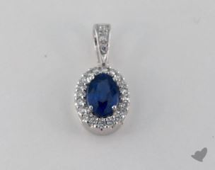18K White Gold - 0.65ct Oval- - Blue Sapphire Pendant