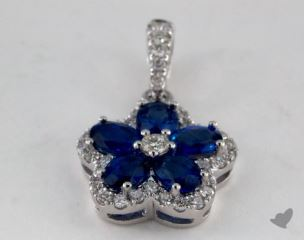 18K White Gold - 1.15ct Oval- - Blue Sapphire Pendant