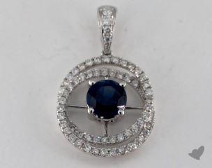 18K White Gold - 1.16ct Round- - Blue Sapphire Pendant