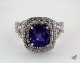 18K White Gold - 4.04ct Cushion- - Blue Sapphire