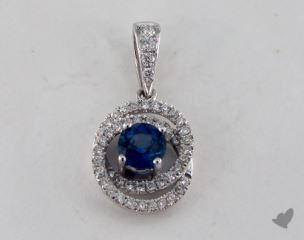 18K White Gold - 0.75ct Round- - Blue Sapphire Pendant