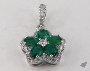 18K White Gold - 0.80ct  - Green Emerald Pendant