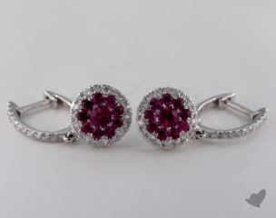 18K White Gold Diamond Halo 0.75tcw Round Ruby Earrings.