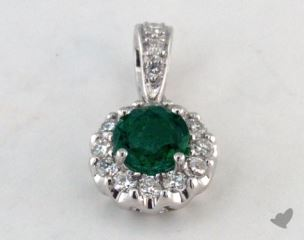 18K White Gold - 0.30ct  - Green Pendant