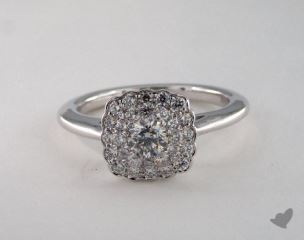 14K White Gold Royal Halo Scallop Cushion Outline Engagement Ring