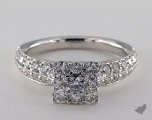 Royal Halo Princess Shape Pave Engagement Ring