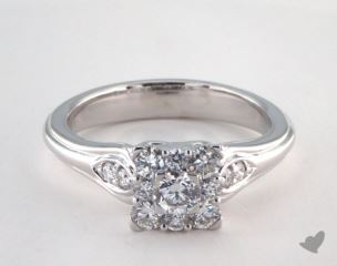 14K White Gold Royal Princess Shape Halo Open Heart  Engagement Ring