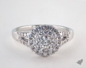 14K White Gold Royal Halo Split Shank Pave Engagement Ring