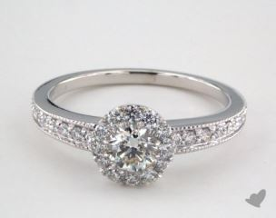 Platinum Royal Halo Vintage Inspired Milgrain Engagement Ring