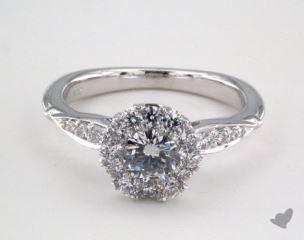 14K White Gold Royal Halo Pave Crown Engagement Ring