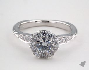 14K White Gold Royal Halo Pave Crown Engagement Ring