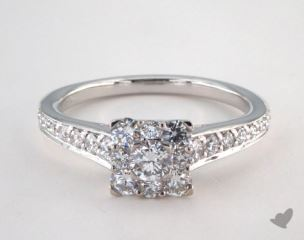 14K White Gold Royal Halo Inspired Princess Shape Engagement Ring