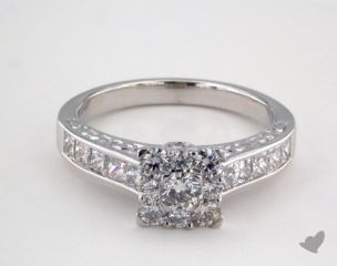 14K White Gold Royal Halo Engraved Channel Set Princess Engagement Ring