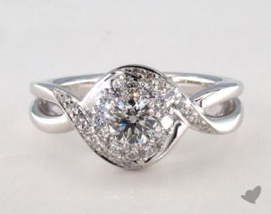 14K White Gold Royal Halo Bypass Swirl Engagement Ring