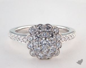 Royal Cushion Shape Scallop Halo Engagement Ring