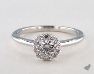14K White Gold Royal Halo Petite Classic Engagement Ring