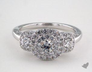 14K White Gold Royal HaloThree Stone Cushion Shape Pave Engagement Ring