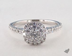Platinum Royal Halo Classic Cushion Shape Engagement Ring