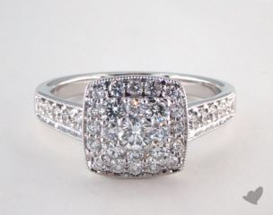 14K White Gold Royal Halo Cushion Shape Classic Engagement Ring