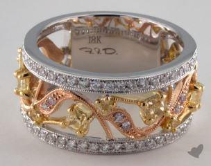 18k Three Tone Gold 1.06ctw Yellow & White Diamond Ring