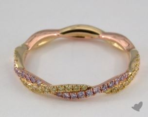 14K Rose and Yellow Gold Pave Twist Band