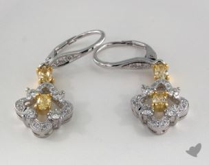 18K White and yellow - 0.67tcw  - Oval - Yellow Diamond Earrings