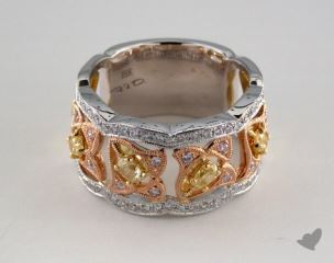 18k White & Rose Gold 0.85ctw Oval Yellow & Pink Diamond Ring