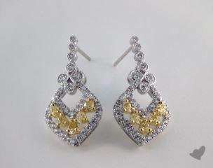 18K White and yellow - 0.81tcw  - Oval - Yellow Diamond Earrings