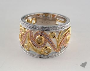 18k White, Yellow & Rose Gold 1.03ctw Swirl Diamond Ring