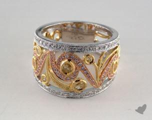 18k White, Yellow & Rose Gold 1.03ctw Swirl Diamond Ring