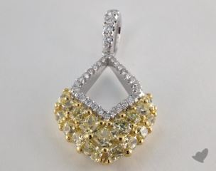18K White and yellow - 2.19ct  - Mixed - Yellow Diamond Pendant