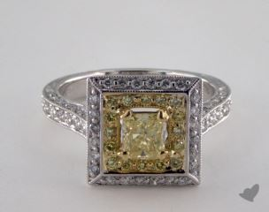 18k Two Tone Gold 1.45ctw Radiant Yellow & Pave Diamond Ring
