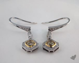 18K White and yellow - 0.56tcw  - Radiant - Yellow Diamond Earrings