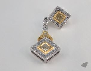 18K White and yellow - 0.27ct  - Radiant - Yellow Diamond Pendant